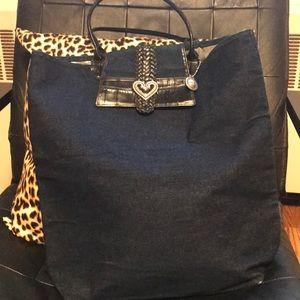 Brighton Genuine Leather and Denim Bag